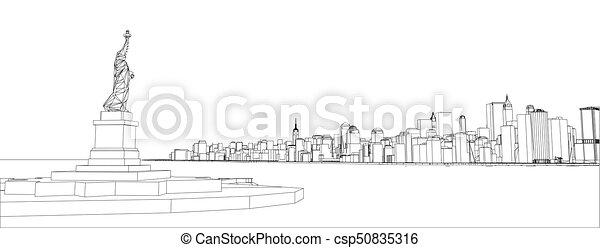 Wire frame new york city blueprint style 3d rendering vector wire frame new york city blueprint style csp50835316 malvernweather Choice Image
