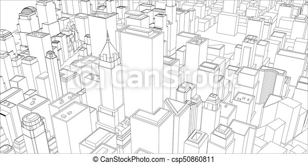 Wire frame new york city blueprint style 3d rendering vector wire frame new york city blueprint style csp50860811 malvernweather Images