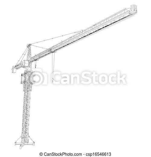 Wire frame tower crane