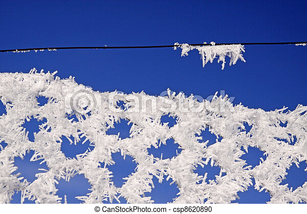 Wire-netting fence with hoarfrost - csp8620890