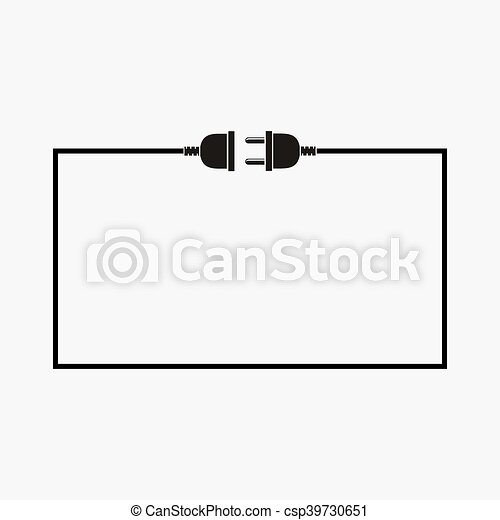 Wire plug and socket - vector illustration. - csp39730651