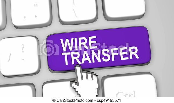 Wire transfer online concept. Wire transfer online key concept ...