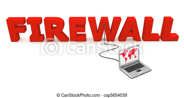 Wired to Firewall - Red - csp5654039