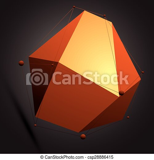 wireframe., éléments, figure, coloré, numérique, objet, vecteur, noir, spatial, géométrique, technologie, 3d - csp28886415