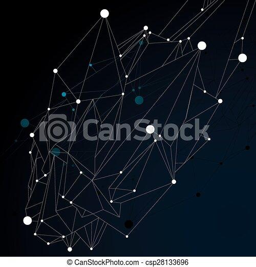 wireframe., éléments, figure, numérique, objet, vecteur, noir, spatial, monochrome, géométrique, technologie, 3d - csp28133696