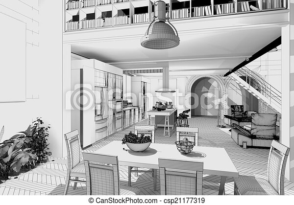 Wireframe Apartment 3D Model   Csp21177319