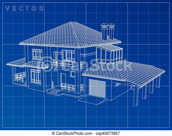 Wireframe blueprint drawing of 3d house vector clipart vector wireframe blueprint drawing of 3d house vector illustration malvernweather Choice Image