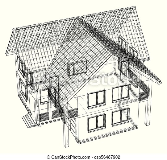 Wireframe blueprint drawing of 3d house vector illustration malvernweather Choice Image