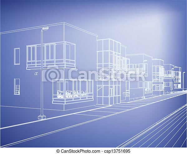 Wireframe building over blueprint eps 8 vector illustration eps wireframe building over blueprint csp13751695 malvernweather Image collections