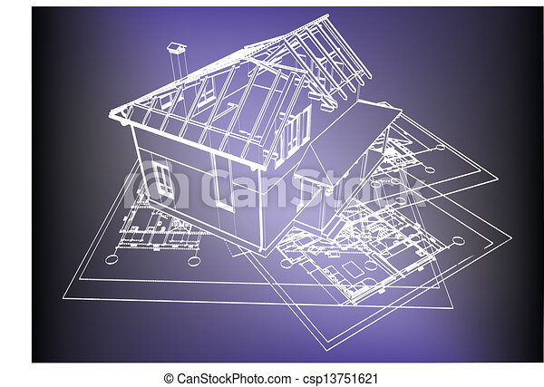 Wireframe building over blueprint eps 8 vector illustration vector wireframe building over blueprint csp13751621 malvernweather Image collections