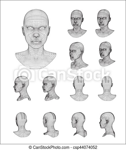 Wireframe head 3d model vector illustration clipart vector - Search ...