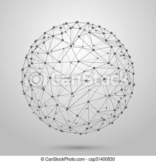 wireframe, oczko, polygonal, kula, wektor, 3d - csp31400830