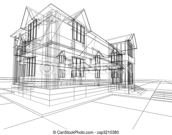 Wireframe Of Cottage Stock Illustration