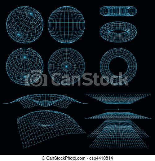 wireframe, symbols., mathématiques, vecteur, perspective, illustration., géométrie - csp4410814