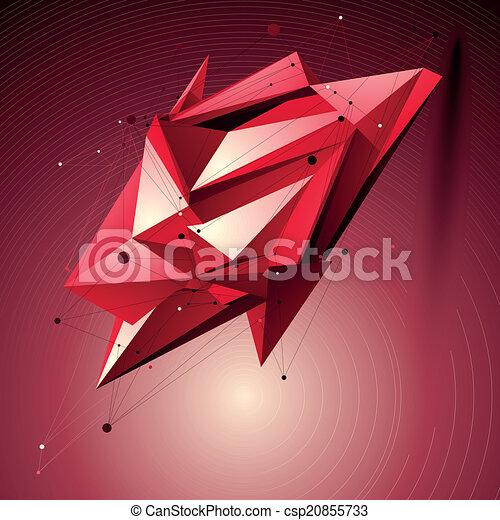 wireframe, techniczny, obiekt, formułować, polygonal, pla, przestrzenny, rubin - csp20855733