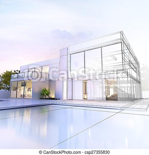 wireframe, villa - csp27355830