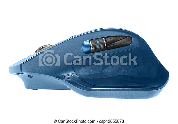 Wireless computer mouse. Blue color. Isolated on white background - csp42855873