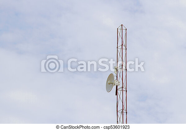 Wireless internet antenna In blue sky
