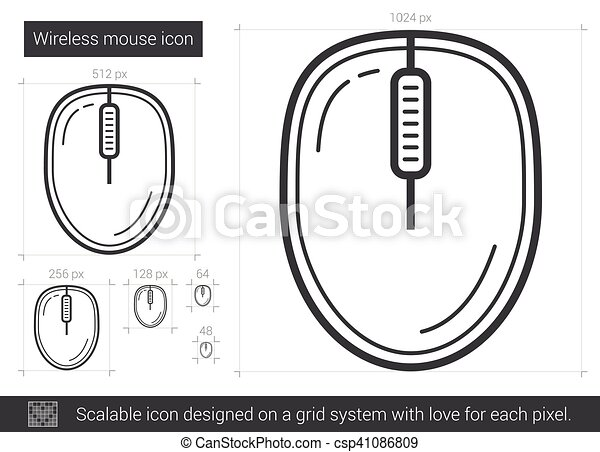 Wireless mouse line icon. Wireless mouse vector line icon isolated ...