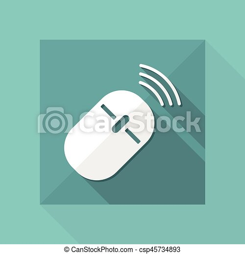 Wireless mouse - vector flat minimal icon.