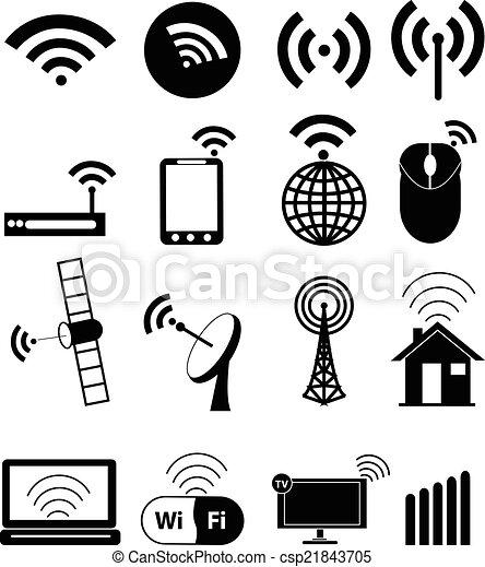 Wireless network icons set - csp21843705