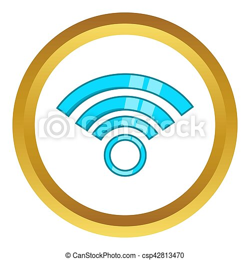 Wireless Network Symbol Icon In Golden Circle Cartoon Style