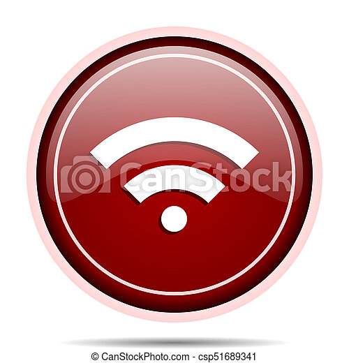 Wireless red glossy round web icon. Circle isolated internet button for webdesign and smartphone applications. - csp51689341