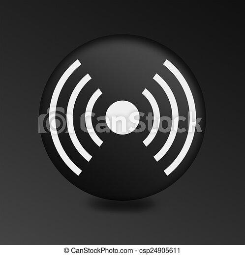 Wireless Sign Icon Wifi Sign Wifi Zone Internet Button On Black