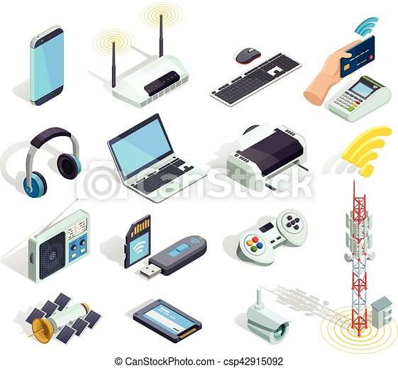 Wireless Technology Devices Isometric Icons Set - csp42915092