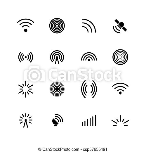 Wireless Wifi And Radio Signals Icons Antenna Mobile Signal And