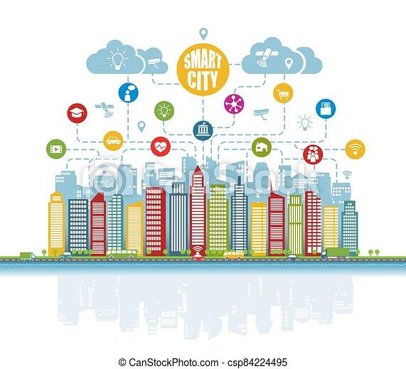 wirklichkeit, dienstleistungen, klug, augmented, sachen, heiligenbilder, fortgeschritten, internet, sozial, netze, intelligent, stadt - csp84224495