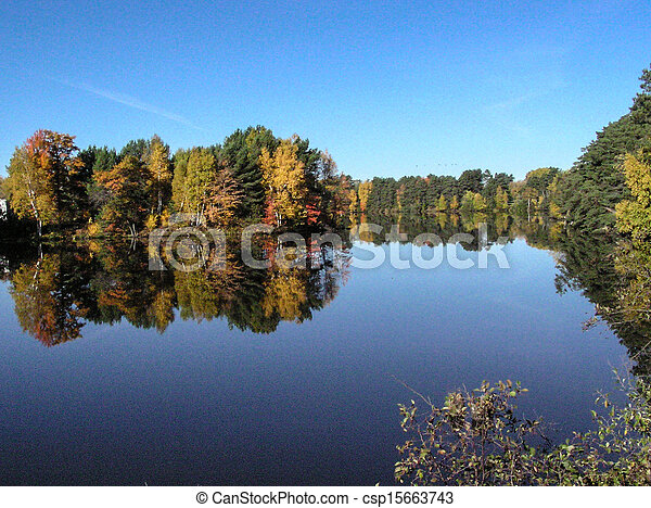 Wisconsin Fall Color Reflections - csp15663743