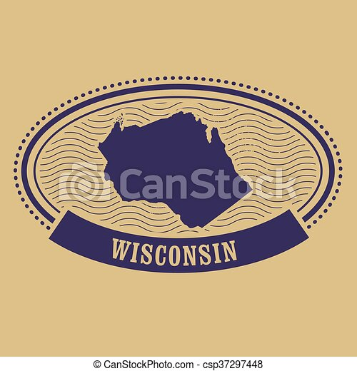 Wisconsin map silhouette - csp37297448
