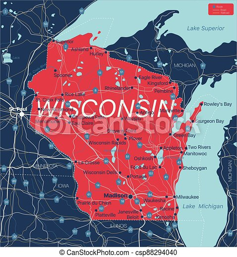 Wisconsin state detailed editable map - csp88294040