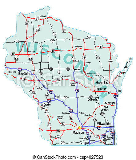 Vectors Of Wisconsin State Interstate Map Wisconsin State Road - Wisconsin road map