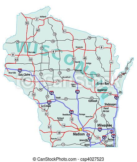 Wisconsin State Interstate Map - csp4027523