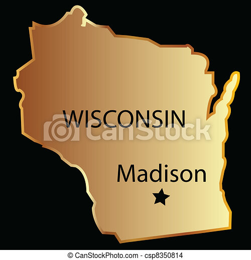 Wisconsin state usa map Wisconsin state usa in gold with eps