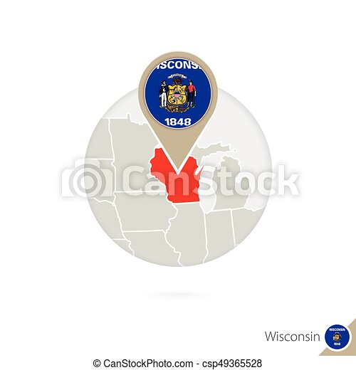 Wisconsin US State Map And Flag In Circle Map Of Wisconsin - Us state flag map