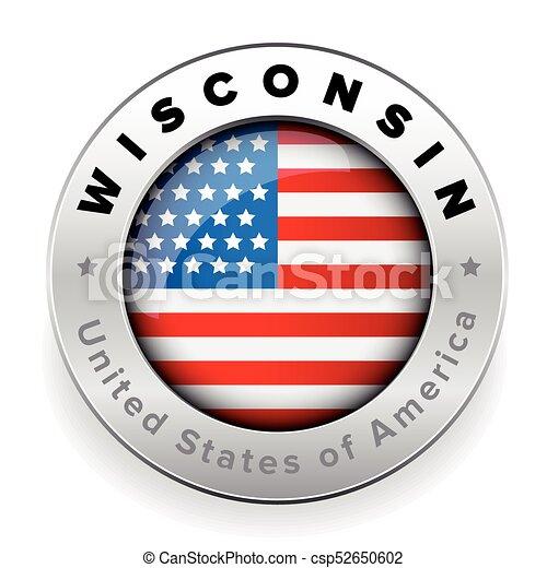 Wisconsin Usa flag badge button - csp52650602
