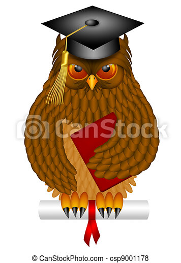 Wise Old Owl with Graduation Cap and Diploma Illustration - csp9001178
