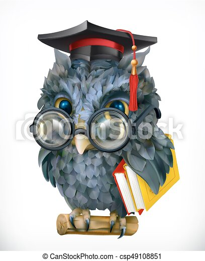 Wise owl. Cartoon character, mascot. 3d vector icon - csp49108851