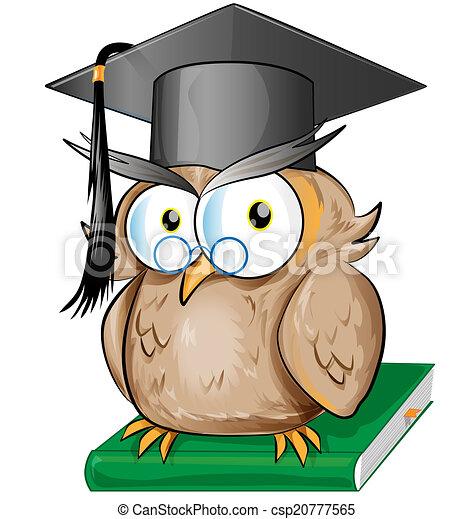 Wise owl cartoon - csp20777565