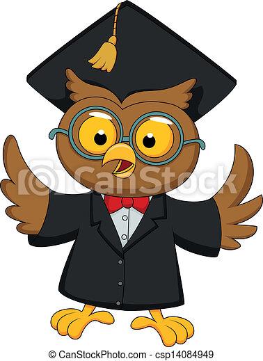 Wise owl cartoon - csp14084949