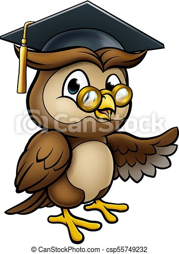 Wise Owl Cartoon Graduate Teacher Pointing - csp55749232