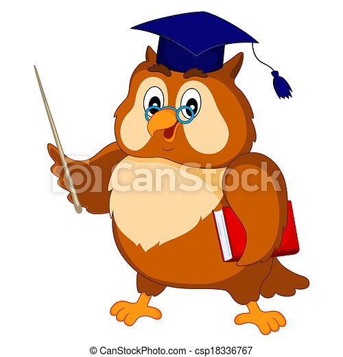 Wise Owl In The Academic Cap With A Book And A Wand