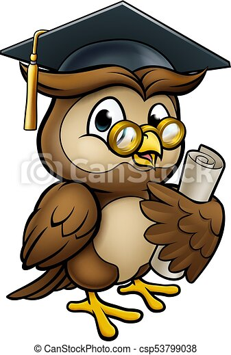 Wise Owl Graduate Character - csp53799038