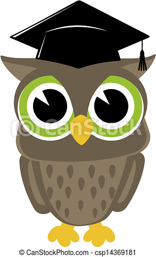 wise owl graduation isolated - csp14369181