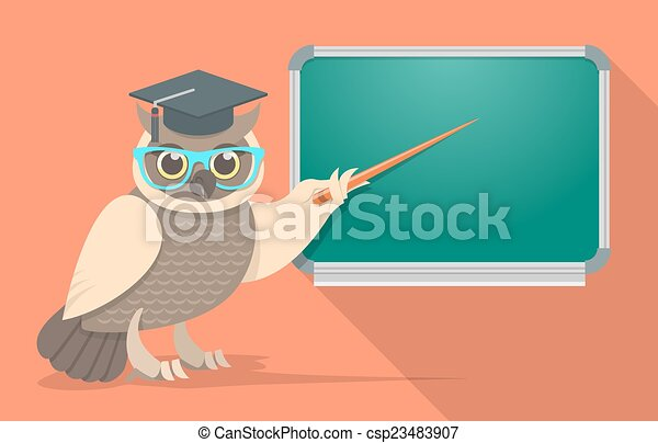 Wise Owl In Glasses At The School B
