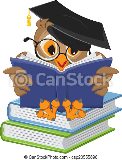 Wise owl reading book - csp20555896