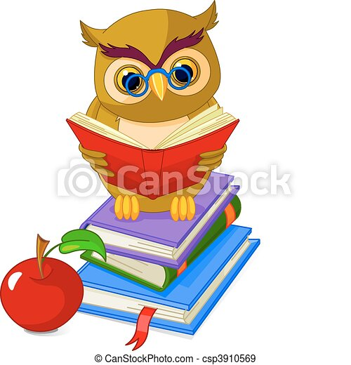 Wise Owl sitting on Pile book - csp3910569